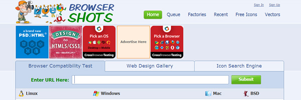 browsershots 7 Free Cross Browser Testing Tools
