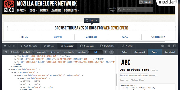 firefox s font inspector 20 Fresh Tools and Resources for Web Designers