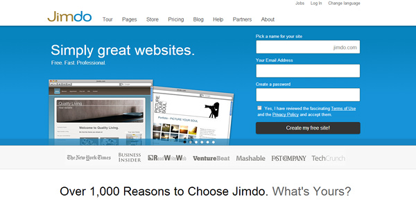 jimdo 20 Free and Easy Website Building Tools