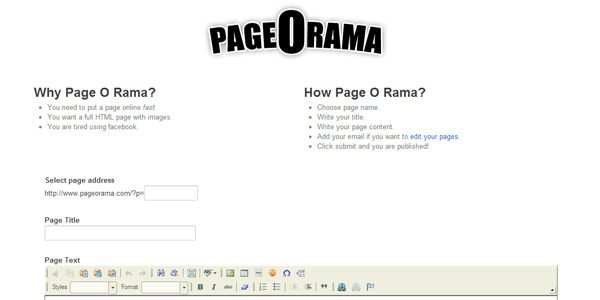 pageorama 20 Free and Easy Website Building Tools