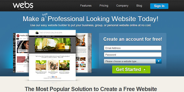 webs 20 Free and Easy Website Building Tools