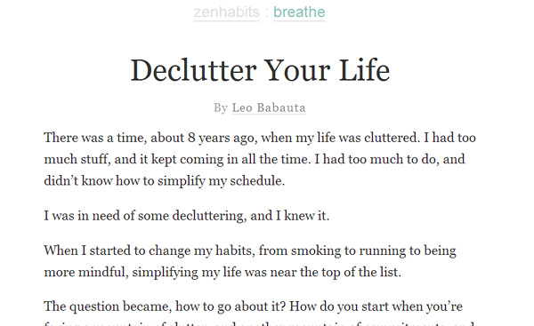 zenhabits Become a Minimalist: 10 Blogs Youve Gotta Check out