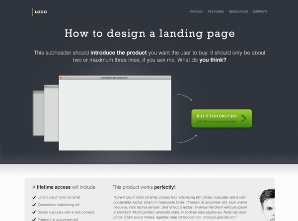 A-free-landing-page-design