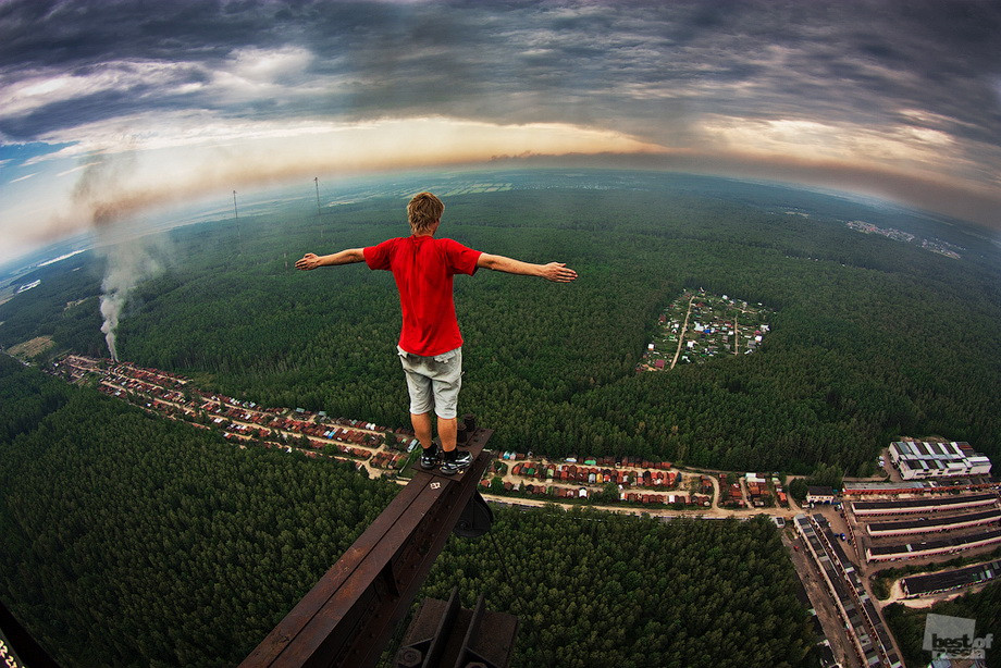 At the top of a tower somewhere in Russia