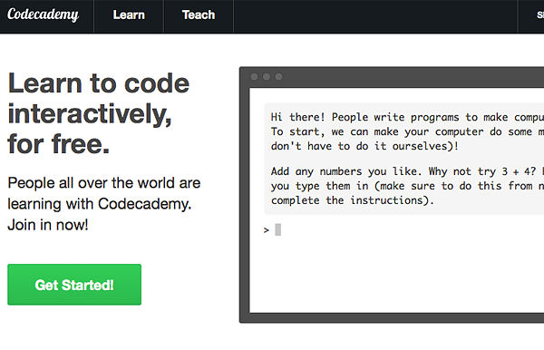 codeacademy 10 Websites with Killer Landing Pages
