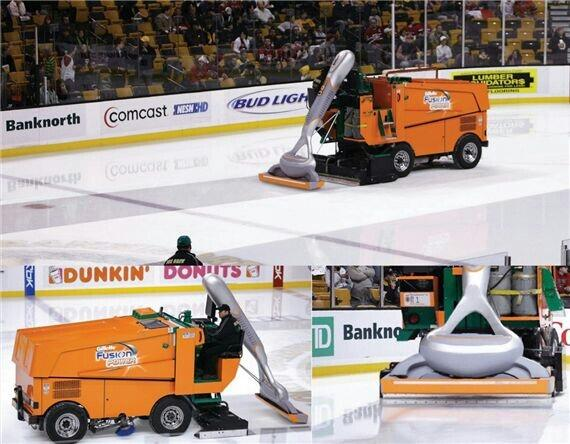 Gillette cleverly advertising their razors at a hockey game