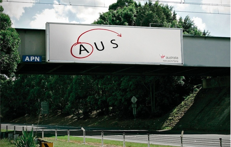 Virgin Airlines ad for AUS to USA flights