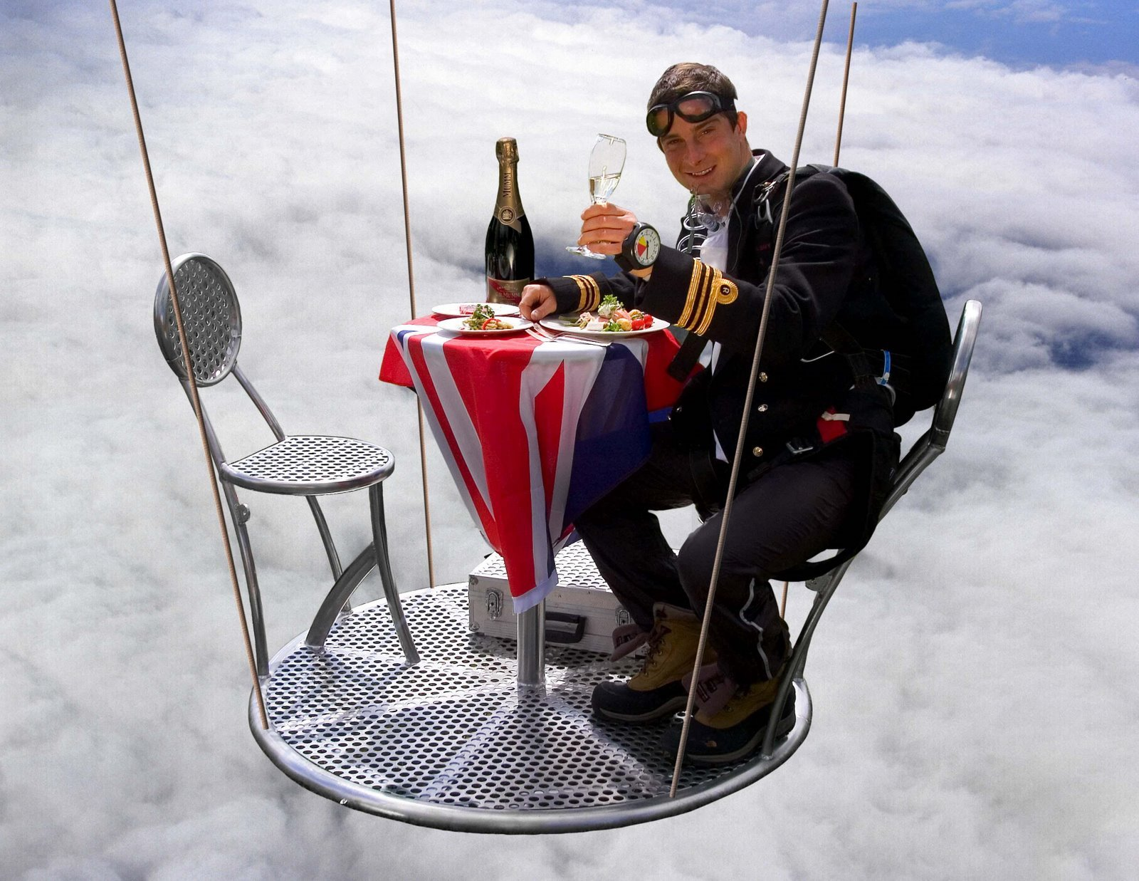 Bear Grylls enjoying a nice meal at 25,000 feet