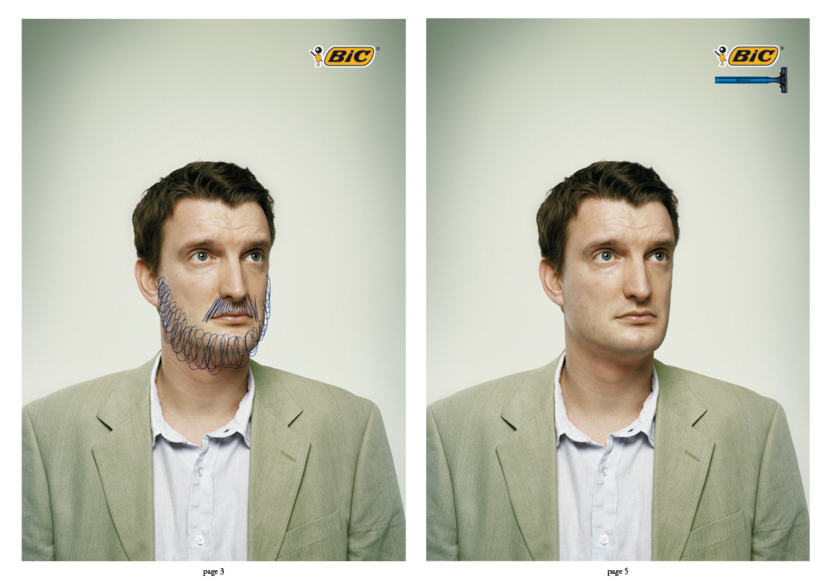 Bic + Bicshave - 2 consecutive pages print ad