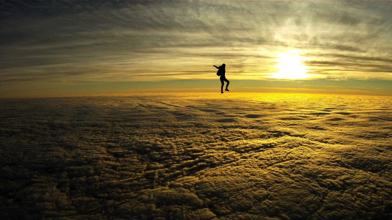 Sky diving at sunset over Northamptonshire, England