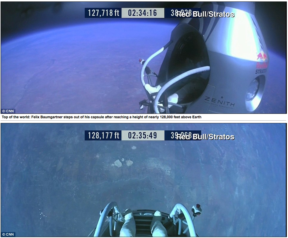Felix Baumgartner Stepping out of his capsule around 128,000 feet. Taken from CNN.
