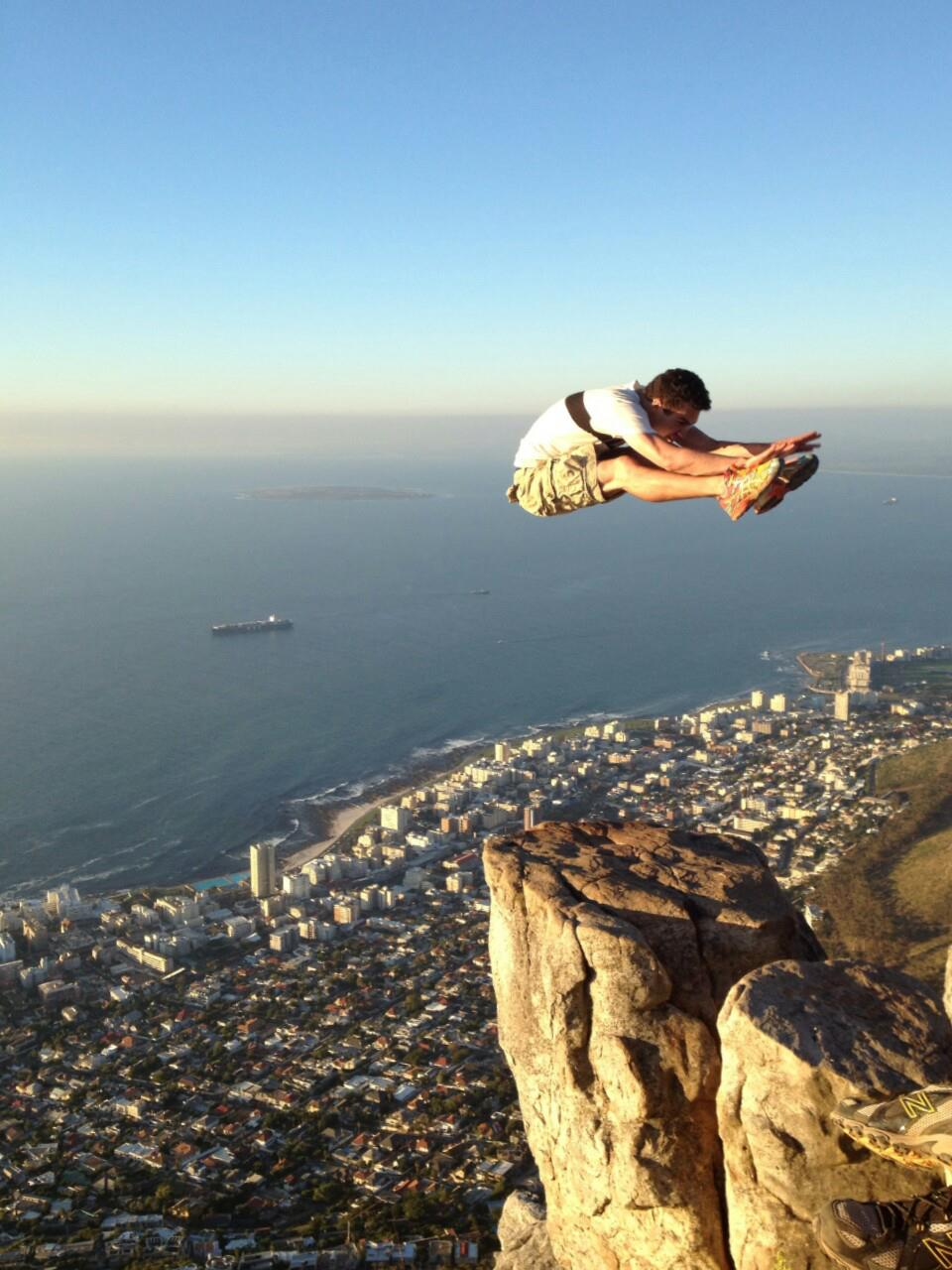 Flying kick at Lion's Head, Cape Town, South Africa