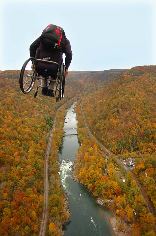 Lonnie Bissonnette jumping off the New River Gorge Bridge
