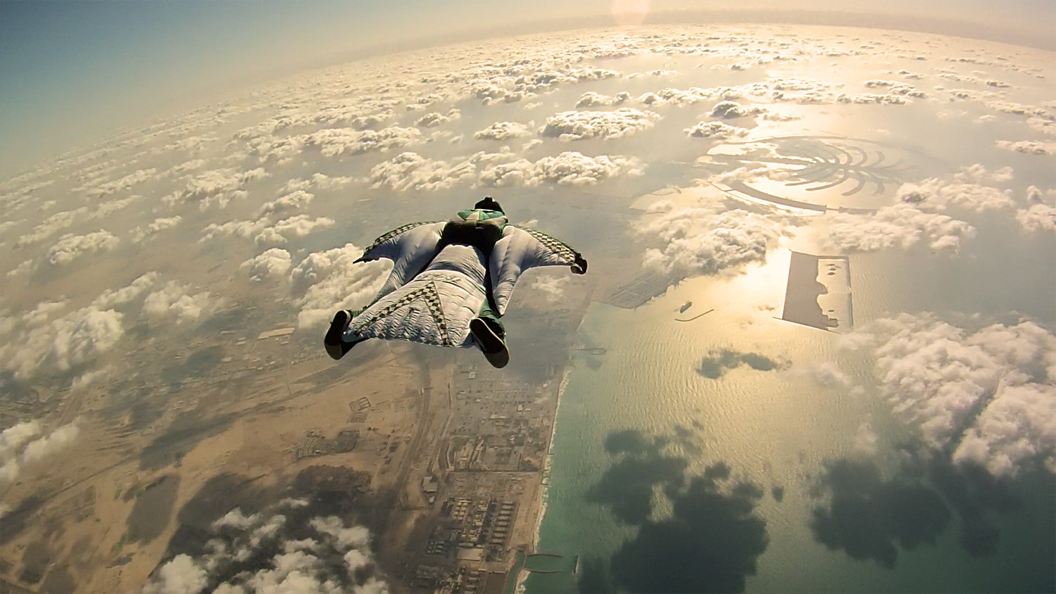 Oscar Lozada over the Dubai coastline
