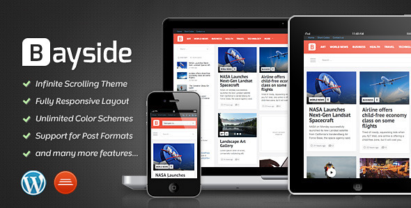 0 theme preview bayside   large preview1 40 Premium News and Editorial Wordpress Themes