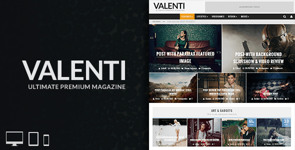 valenti image preview   large preview1 40 Premium News and Editorial Wordpress Themes