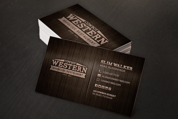 Wood BBQ Business Cards