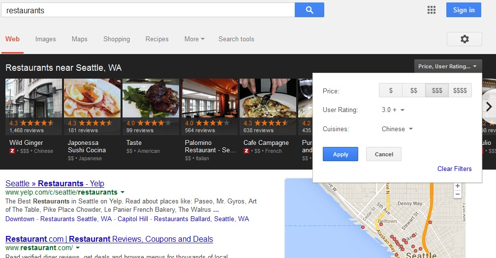 carousel restaurants results How to Optimize for Carousel   Googles New Local Search