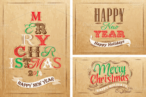 creativemarket christmas happy kraft f1 20 Creative Holiday Cards