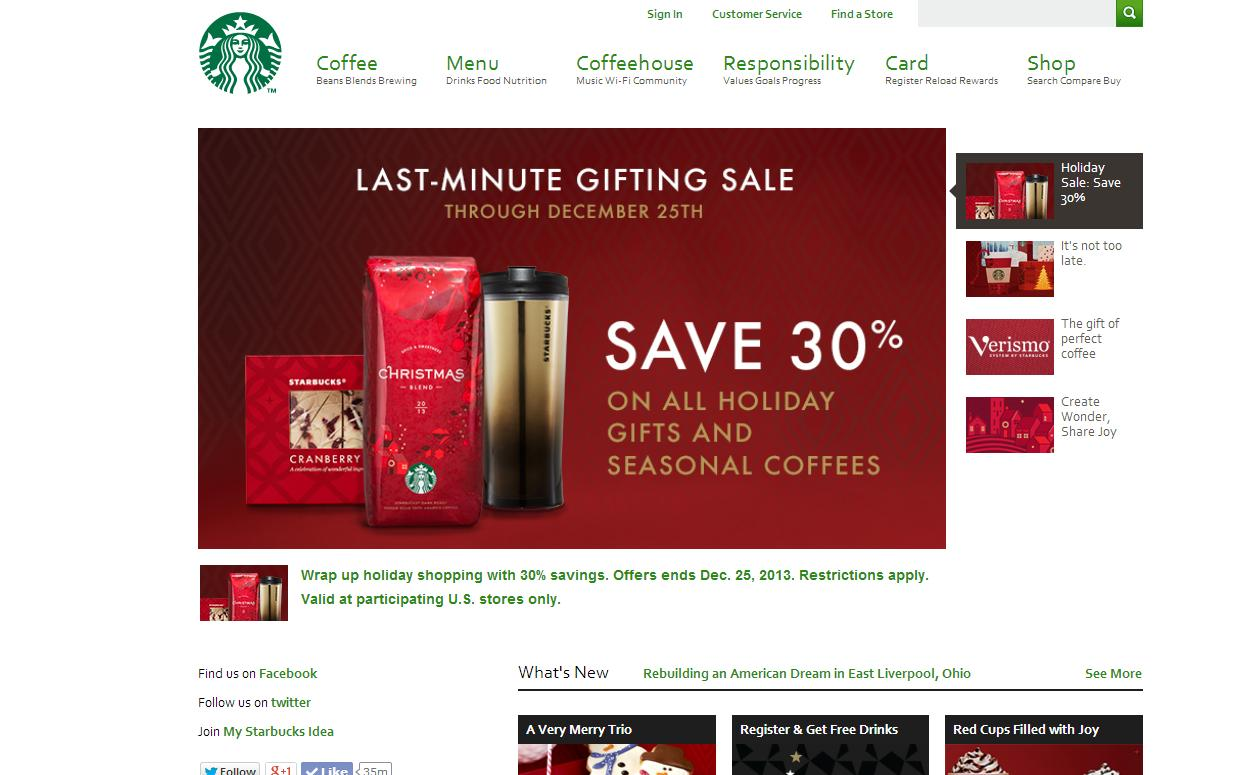 starbucks Best Website Designs of 2013