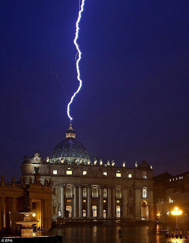 Lightning strikes at the Vatican