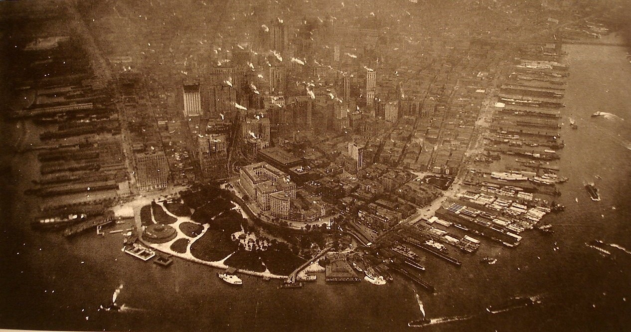 First aerial photograph taken of Lower Manhattan in 1922.
