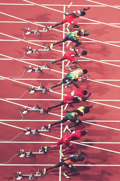 First microseconds of a 100m sprint race