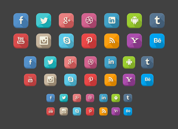 10 42 long shadow icons Top 40 Must Have Social Media Icon Sets from 2013