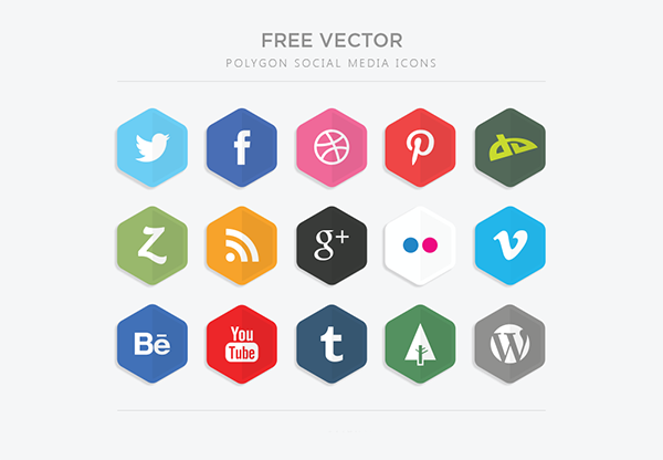 12 vector polygon social media icons Top 40 Must Have Social Media Icon Sets from 2013