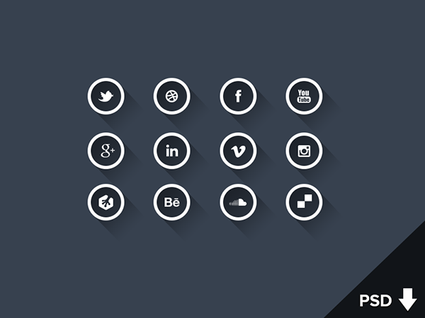 13 social long shadow icons white version Top 40 Must Have Social Media Icon Sets from 2013
