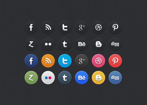 15 24 circle sm icons freebie Top 40 Must Have Social Media Icon Sets from 2013