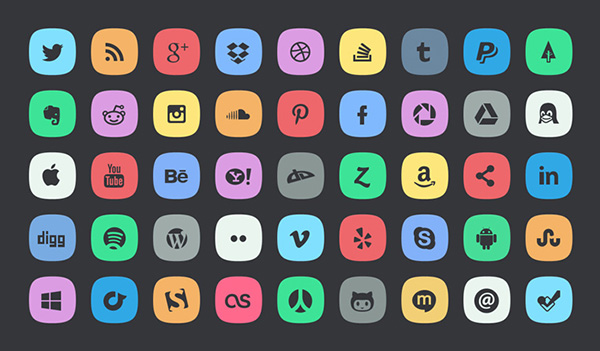 4 subtle social meida icons Top 40 Must Have Social Media Icon Sets from 2013