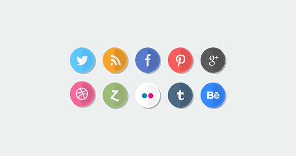 7 flat social media icons freebie Top 40 Must Have Social Media Icon Sets from 2013