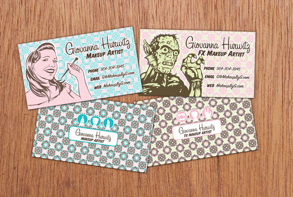 25 beautiful vintage style business card designs inspirationfeed giovanna hurwitz makeup artist reheart Image collections