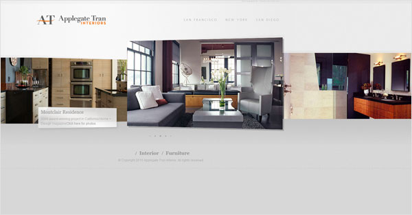 applegate tran design studio website 33 Clean, Minimalist, and Simple Interior Design Websites