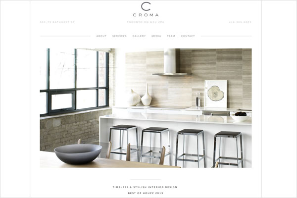 croma design website 33 Clean, Minimalist, and Simple Interior Design Websites