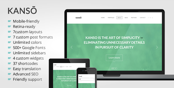 kanso theme preview   large preview1 35 Premium Single Page WordPress Themes
