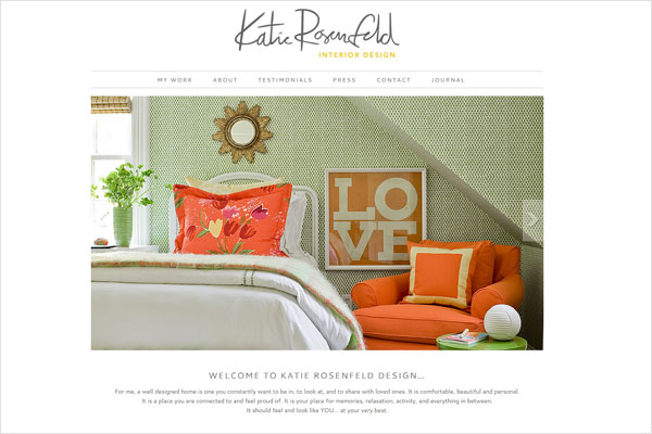 katie rosenfeld webpage 33 Clean, Minimalist, and Simple Interior Design Websites