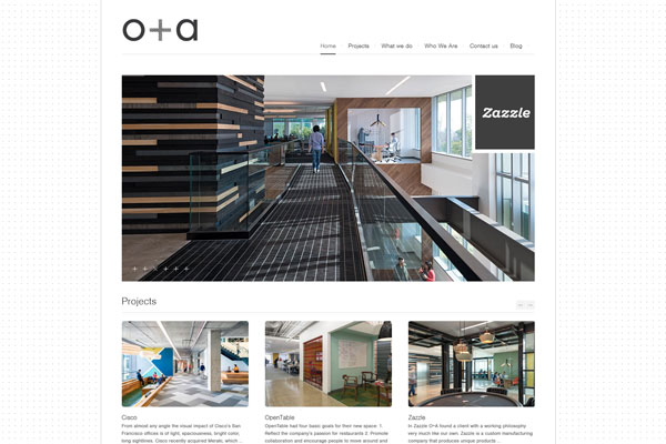 oa studio website 33 Clean, Minimalist, and Simple Interior Design Websites