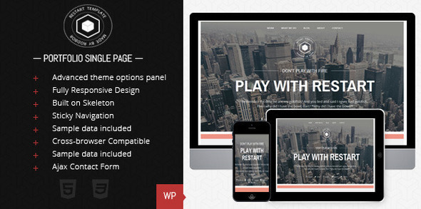 restart preview   large preview   large preview1 35 Premium Single Page WordPress Themes