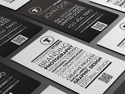 typography studio business card1 25 Beautiful Vintage Style Business Card Designs