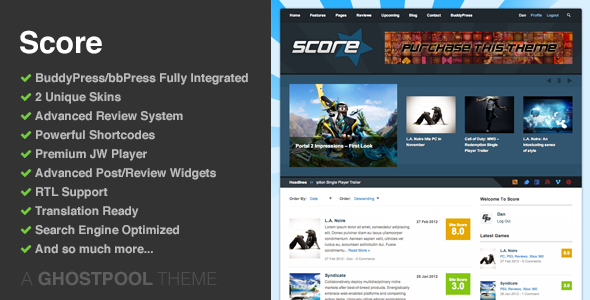 Score: Review WordPress & BuddyPress Theme