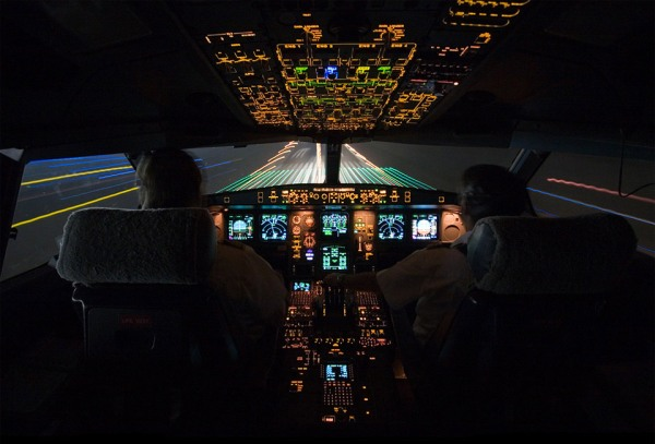 Landing At Night, Cockpit View by Javier Guerrero