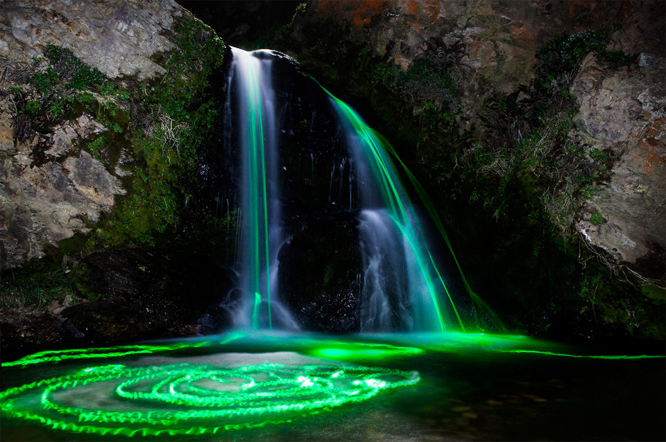 Long Exposures Taken With Glow Sticks In Waterfalls by Sean Lenz