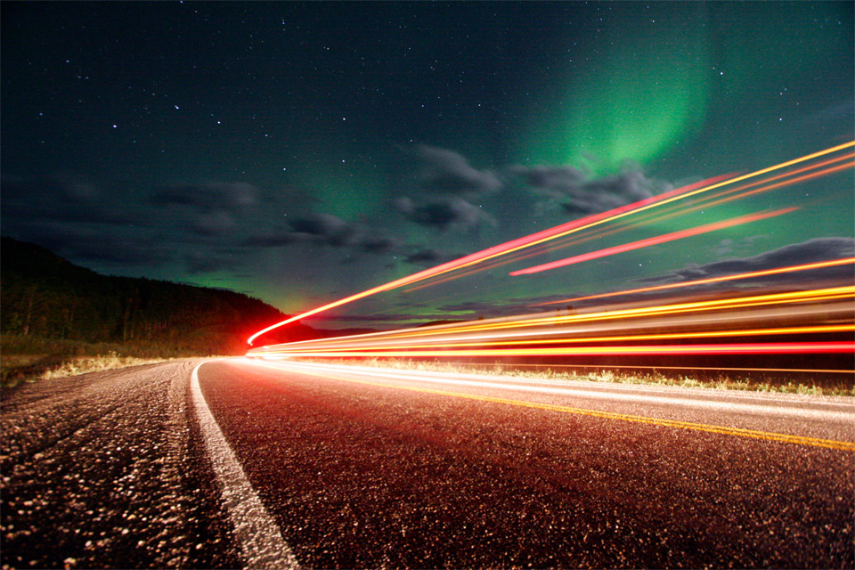 Northern Lights Over Roads Of Alaska by Chris Ledoux