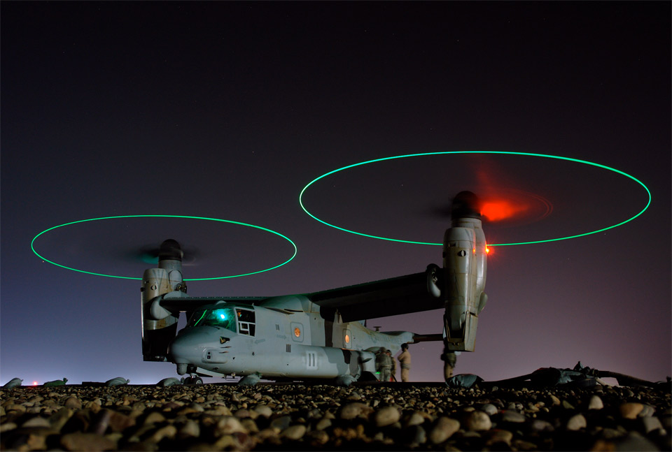 osprey vertical lift aircraft in iraq by joe kane 60 Spectacular Examples of Long Exposure Photography