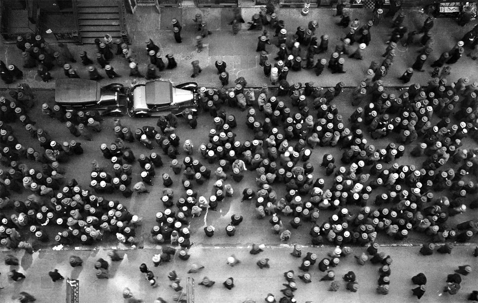 Overhead View Of Men Wearing Hats, Nyc, 1930 by Margaret Bourke White