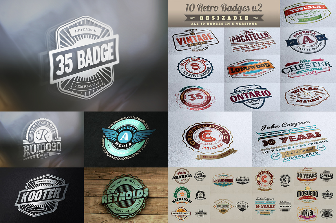70 Badge Logo Templates