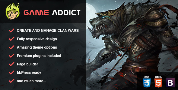 Game Addict - Clan War Gaming Theme