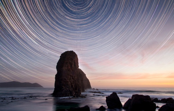 Star Trails At Sunset by Stuart Gibson